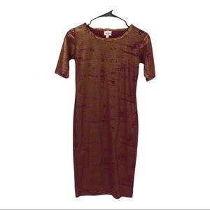 LulaRoe rust copper gold dusted Julia dress